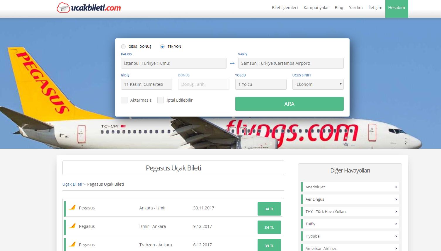 Ucakbileti.com - %10 Ekstra İndirimli Pegasus Uçak Biletleri
