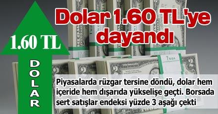 Dolar 1.60 TL'ye dayandı