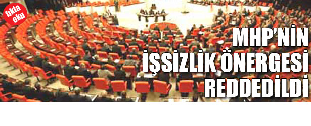 MHP'NİN İŞSİZLİK ÖNERGESİ REDDEDİLDİ