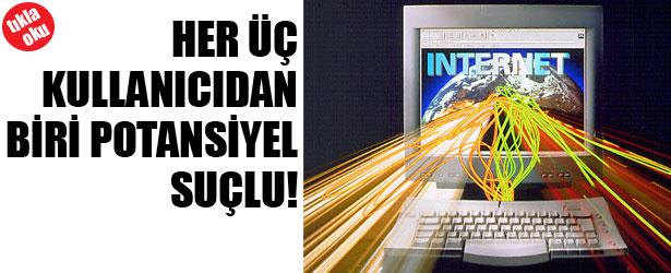 HER ÜÇ KULLANICIDAN BİRİ POTANSİYEL SUÇLU!