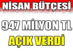 Bütçe 947 milyon TL açık verdi