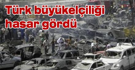 Türk büyükelçiliği hasar gördü