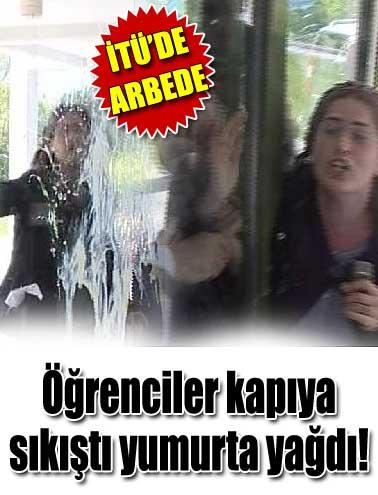 İTÜ'de yumurtalı protesto