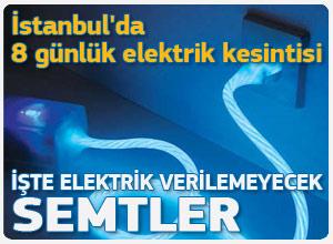 İstanbul'da 8 gün elektrik verilemeyecek semtler