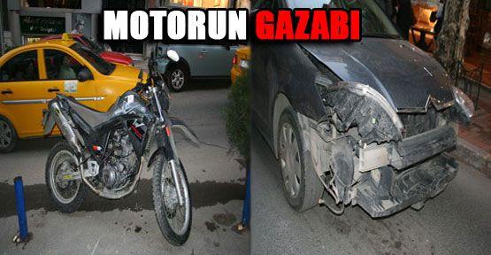 Motosiklet arabayı haşat etti!