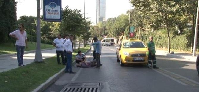 Köpekten kaçtı, taksi çarptı