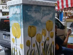 Şişli'de trafolar çiçek resimleriyle güzelleşiyor