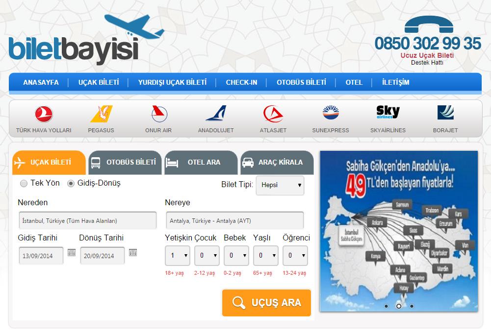 Promosyonlu Uçak Biletleri www.biletbayisi.com Adresinde